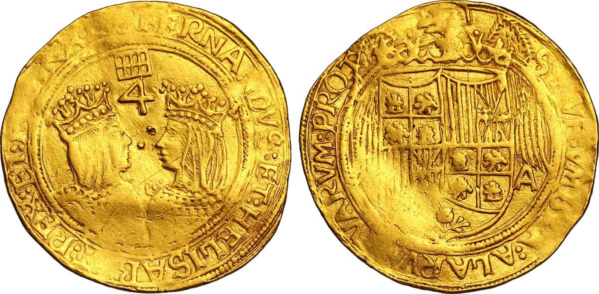 Quadruple_en_or_à_l'effigie_d'Isabelle_et_Ferdinand_les_monarques_catholiques